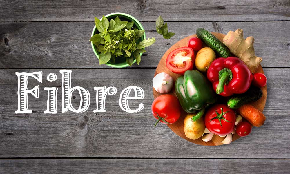 Fibre in white text with assortment of vegetables and basil plant in pot