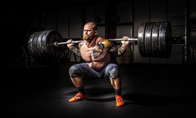 Heavy barbell squat