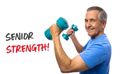 Older man with dumbbells - senior strength!