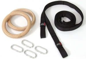 SMAI Wooden Gym Rings with Easy Straps